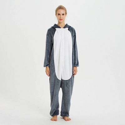 Lovely Pajamas Sleepwear for Women Huskie Onesie, Dark Grey_1