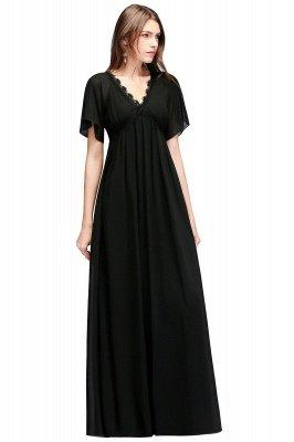 A-line V-neck Short Sleeves Long Black Chiffon Bridesmaid Dress_1