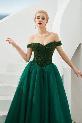 Off the Shoulder Sweetheart Jade A-line Long Prom Dresses | Elegant Evening Dresses Cheap_9