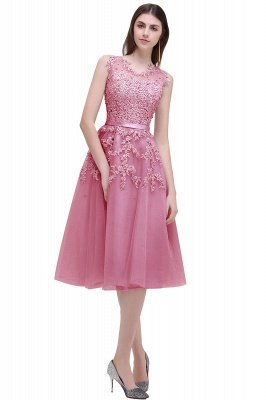 EMORY | Crew Tea Length Lace A-Line Appliques Short Prom Dresses_2