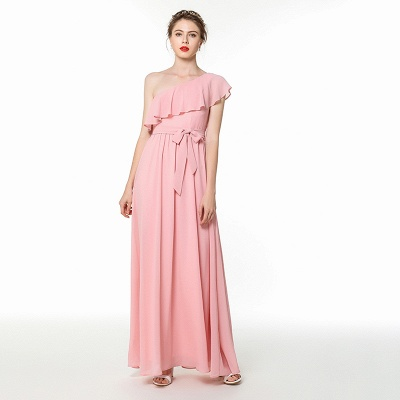 One Shoulder Belted Floor Length Chiffon Prom Dresses | Long Cheap Evening Dresses Online