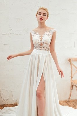 Jewel Cap Sleeves Sheer Sweep Train A-line Appliques Chiffon Wedding Dresses_13