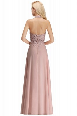 Elegant Halter A-line Appliques Chiffon Long Bridesmaid Dresses | Simple Wedding Guest Dresses_31