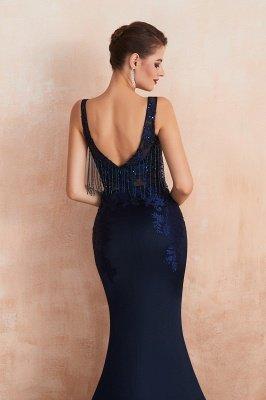 Bateau Backless Beaded Sexy Long Mermaid Prom Dresses | Glamorous Floor Length Evening Dresses_8