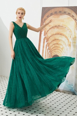 Gorgeous Straps V-neck A-line Long Prom Dresses | Jade Floor Length Evening Dresses_8