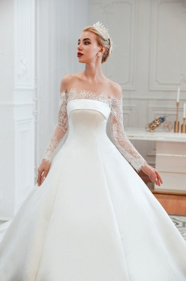 Off the Shoulder Long Sleeves Lace Up Floor Length A-line Lace Wedding Dresses_17