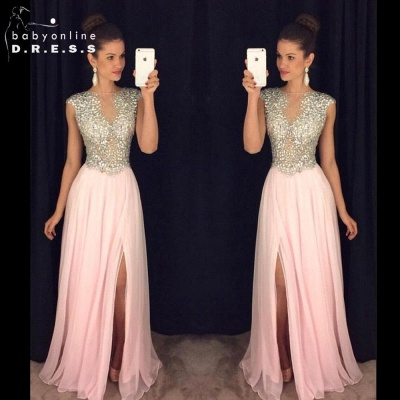 2019 Long Front-Slit Pink Beaded A-line Crystals luxury Prom Dresses_2
