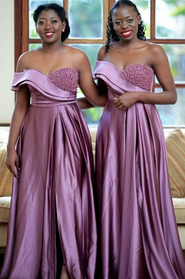 Off the Shoulder Front Slit Long Cheap Bridesmaid Dresses | Sexy Maid of Honor Dresses_1