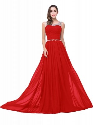 Cheap A-line Court Train Chiffon Party Dress With Beading in Stock_2