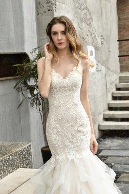 Gorgeous Floor Length Tulle Appliques Mermaid Wedding Dress_5