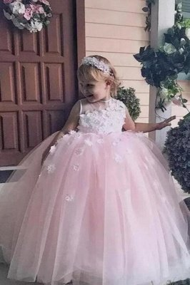 Jewel Sleeveless Tulle Ball Gown Flower Girl Dresses | Kids Dresses for Wedding_1