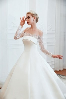Off the Shoulder Long Sleeves Lace Up Floor Length A-line Lace Wedding Dresses_15