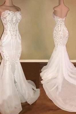 Strapless  Sweetheart Mermaid Lace Sexy Wedding Dresses | Fit-and-Flare Bridal Gowns_3