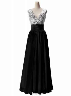 A-line V-neck Chiffon Party Dress With Sequined_4
