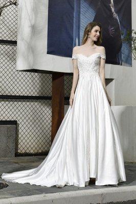 Elegant Appliques Off the Shoulder Sweetheart Lace Wedding Dresses_4