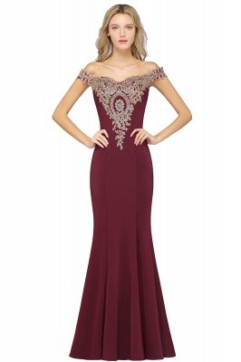 Simple Off the Shoulder Appliques Fitted Floor Length Evening Gown_2
