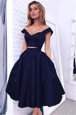 Simple Short Two Piece off-the-shoulder Prom Dress with Pockets
