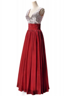 A-line V-neck Chiffon Party Dress With Sequined_2