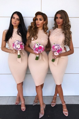 Knee Length Sexy Mermaid Lace Bridesmaid Dresses  | Affordable Maid of Honor Dresses_2