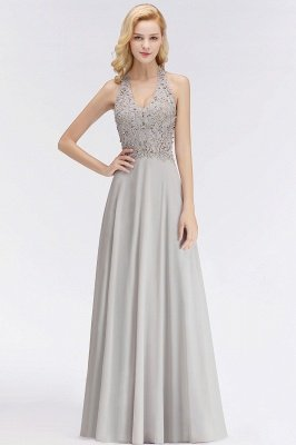 Elegant Halter A-line Appliques Chiffon Long Bridesmaid Dresses | Simple Wedding Guest Dresses_8