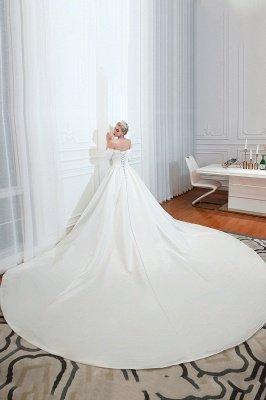 Gorgeous Off the Shoulder Half Sleeves Floor Length A-line Satin Wedding Dresses_13