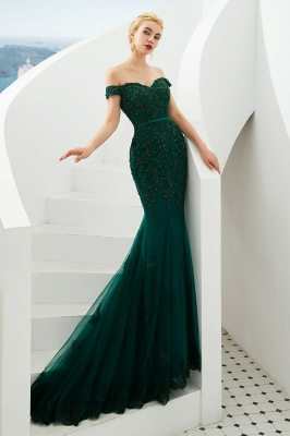 Gorgeous Off the Shoulder Jade Long Mermaid Prom Dresses | Floor Length Evening Dresses_10