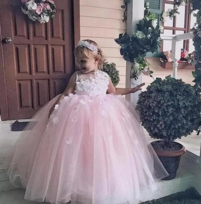 Jewel Sleeveless Tulle Ball Gown Flower Girl Dresses | Kids Dresses for Wedding_3