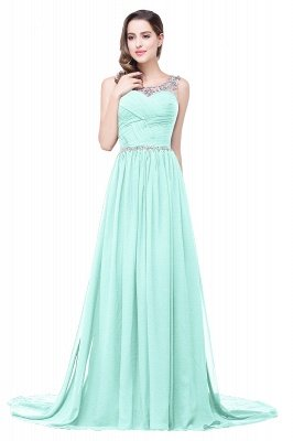A-line Court Train Chiffon Party Dress With Beading_7