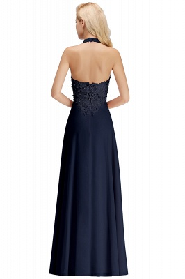 Elegant Halter A-line Appliques Chiffon Long Bridesmaid Dresses | Simple Wedding Guest Dresses_22