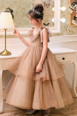 V-neck Straps Tulle Puffy Princess Flower Girl Dresses | Kids for Dress for Wedding
