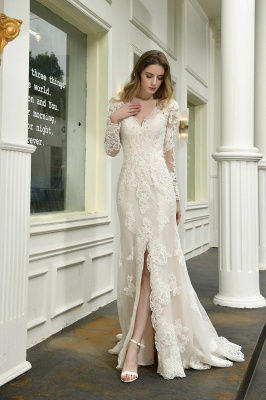 Gorgeous V-Neck Long Sleeves Form-Fitting Wedding Dress With Slit_5