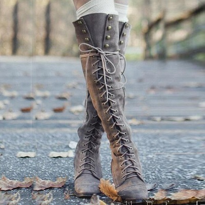 Fashion Lace-Up Knee High Women's Boots_3