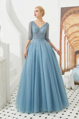 Gorgeous Half Sleeves V-neck A-line Floor Length Prom Dresses | Long Tulle Evening Dresses