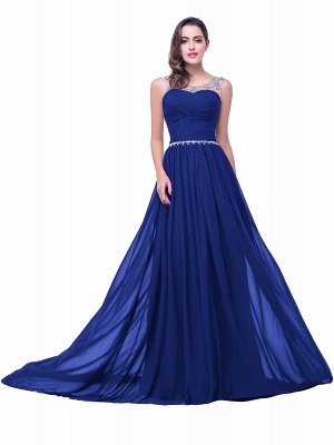 Cheap A-line Court Train Chiffon Party Dress With Beading in Stock_4