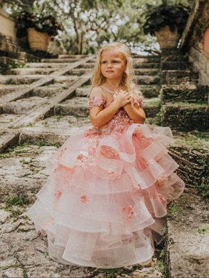 Jewel Short Sleeves Tiered Tulle Flower Girl Dresses with Handmade Flowers_4