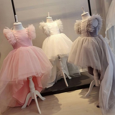 Cute Hi-Lo Jewel Cap Sleeves Tulle Flower Girl Dresses | Dress for Flower Girls_2