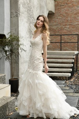 Gorgeous Floor Length Tulle Appliques Mermaid Wedding Dress_4