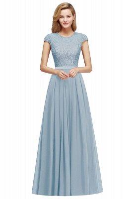 Cap Sleeves Floor Length Jewel Lace Chiffon Bridesmaid Dress | Cheap Prom Dresses_3
