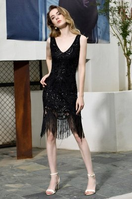 Black Straps V Neck Applique Lace Sequined Sheath Homecoming Dresses_8