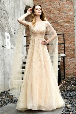 Georgeous Bateau Beading Crystal Prom Dresses | Floor Length A Line Evening Gown_1