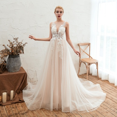 Round Neckline Sleeveless A-line Lace Up Sweep Train Lace Appliques Wedding Dresses_11