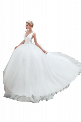 Elegant Floor Length V-neck Straps Belted A-line Tulle Wedding Dresses_6