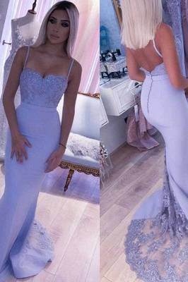 Spaghetti Straps Appliques Long Sexy Prom Dresses | Elegant Sweep Train Evening Dresses