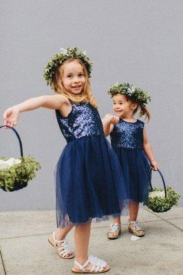 Lovely Blue Short Sequined Flower Girl Dresses_1