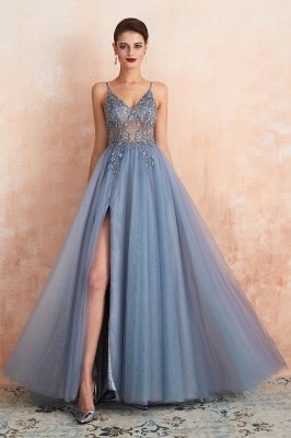 Spaghetti Straps V-neck Sheer Top Sexy Long Prom Dresses with Side Slit | Elegant Tulle Evening Dresses