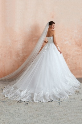 Floor Length Strapless Sweetheart A-line Gorgeous Lace Wedding Dresses_5
