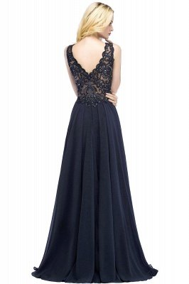 Straps V Neck  Applique Crystal Sequin Floor Length A Line Prom Dresses_55