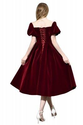 Burgundy Flare Sleeve Deep V Neck Tea Length A Line Prom Dresses | Ruffles Evening Dresses_10
