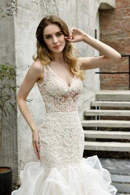 Tulle Lace Sleeveless Sexy Mermaid Wedding Dress_4