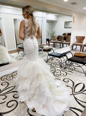 Gorgeous Straps V-neck Lace Tulle Mermaid Wedding Dresses | Trendy Bridal Gowns_2